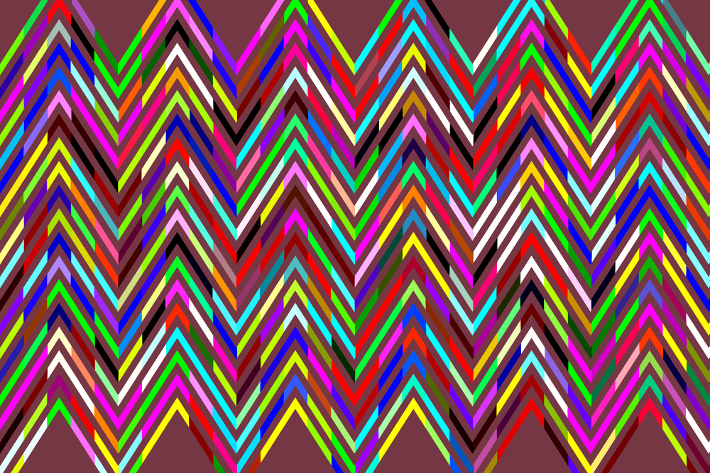 Geometric abstract of multicolored sine waves in a zigzag pattern on wine-red background